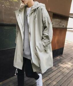 Mens Korean Fashion Oversize Loose Hoodie Trench Outwear Knee Length Jacket  C58 | eBay