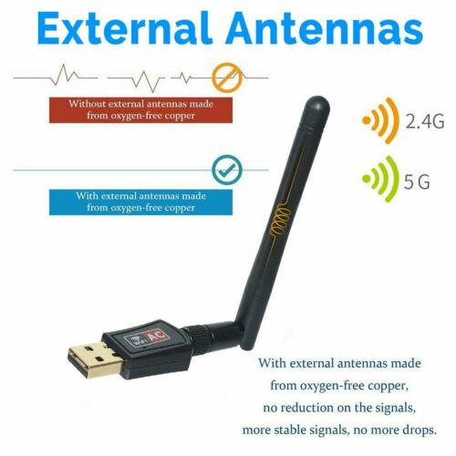 Dual Band 600Mbps USB WiFi Dongle Wireless LAN Adapter 802.11ac//a//b//g//n5//2.4Ghz