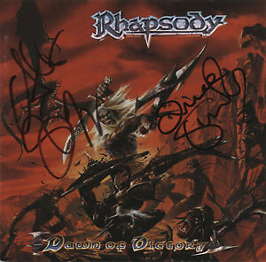 RHAPSODY-Dawn-Of-Victory-CD-mit-original-Autogramme-signed-by-Luca-amp-Alex