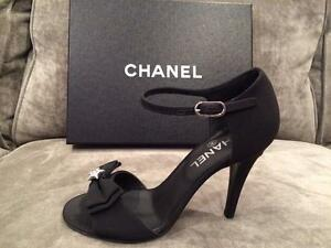 4fc898370bad59 CHANEL 15A Crepe Satin Fabric Crystal Bow Ankle Strap Sandals Heels ...
