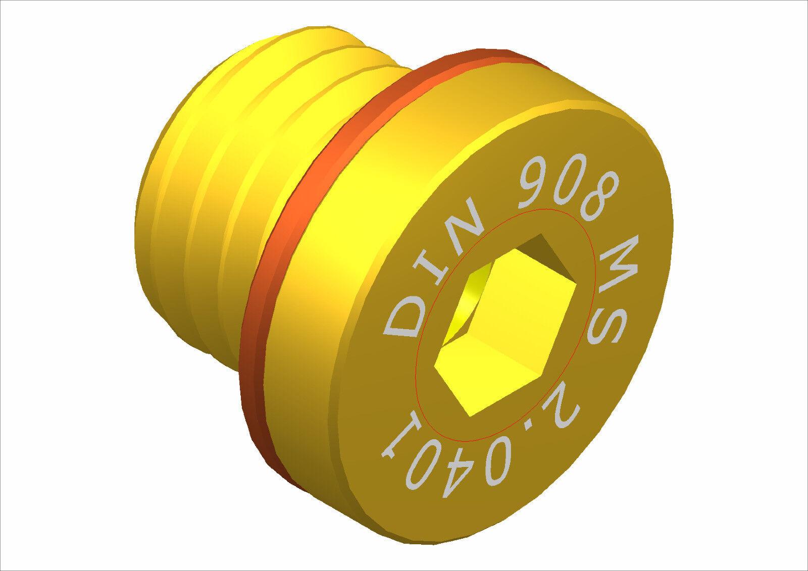 DIN 908 Verschlussschrauben M 9 bis  3 4   Messing m. Dichtring       Mittel Preis