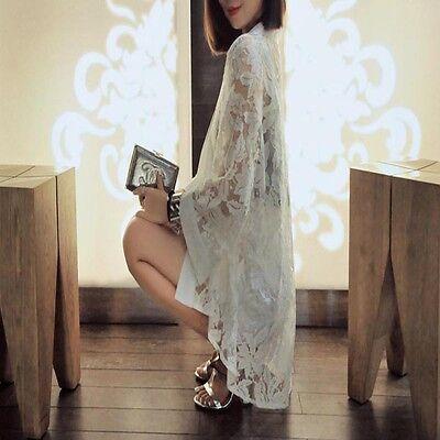 Fashion Women Lace Coats Stitching Loose Kimono Cardigan Jacket Shirt Blouse Top