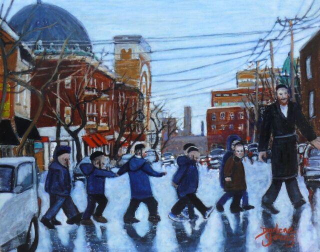 Safe Crossing, Mile End,  8x10, Egg Tempera, Darlene Young Canadian Artist