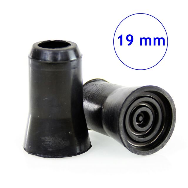 PACK OF 2 BLACK 19mm RUBBER FERRULE Anti-Slip Walking Stick//Cane//Crutch Grip End