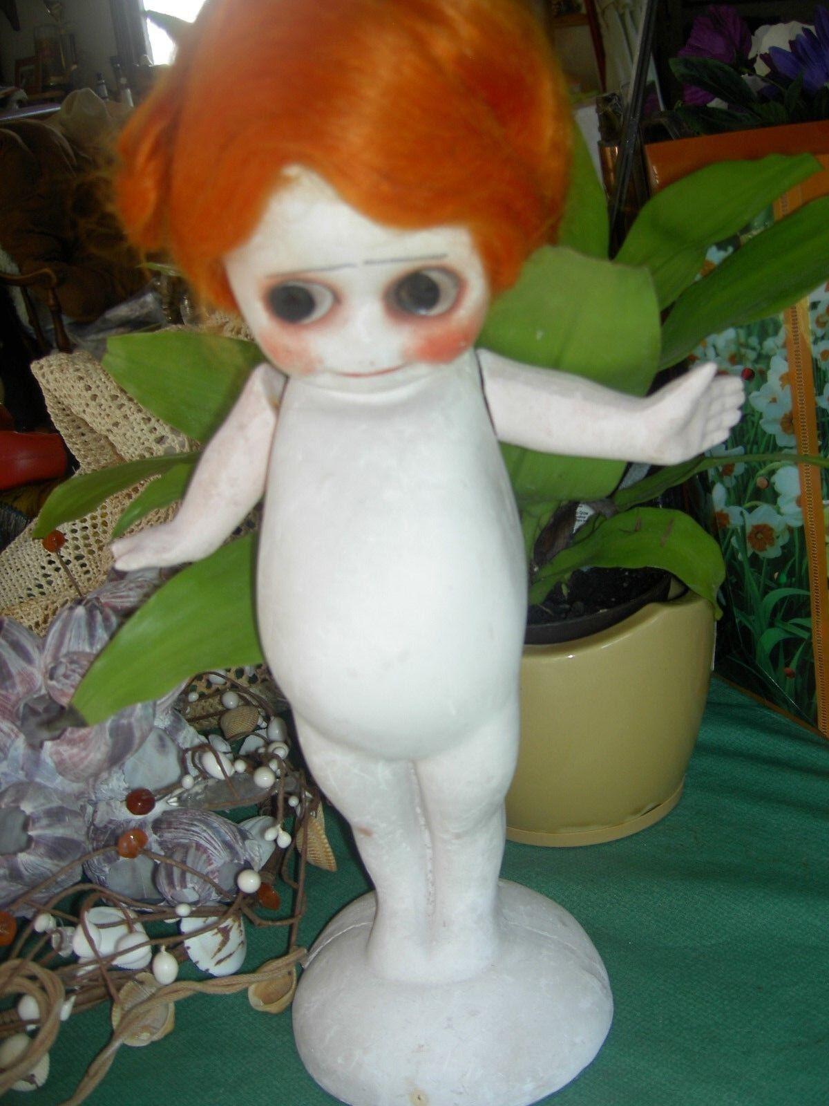 Muy Raro Antiguo Kewpie Con Alas & brazos móviles Lámpara chalkware tipo de Carnaval