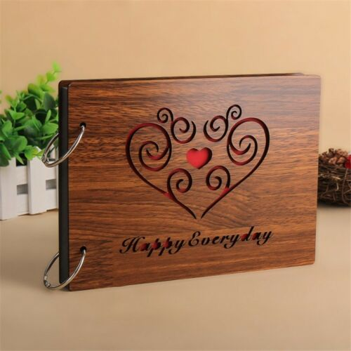 "DIY 8/"" Wood Cover Photo Albums Memory Record Wedding Baby Family Album Scrapbook"