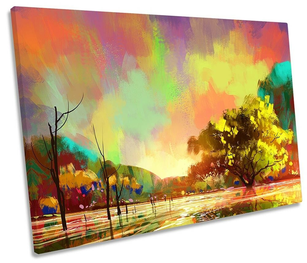 Sunset Landscape Landscape Landscape Multi Colourot SINGLE CANVAS WALL ARTWORK Print Art 46241a
