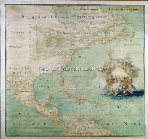 Riproduzione Antico Vintage a Colori Map America Plan 1680 di Claud Bernou