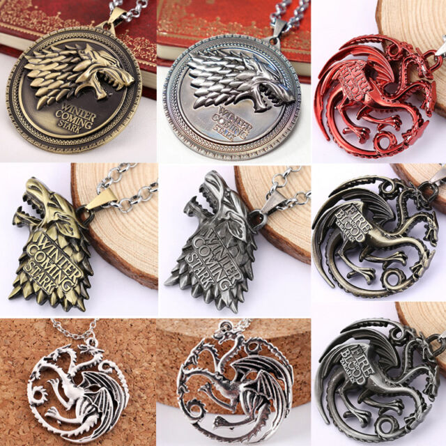 Game of Thrones Halskette Targaryen Drache Wappen Fire and Ice Anhänger Silber 2