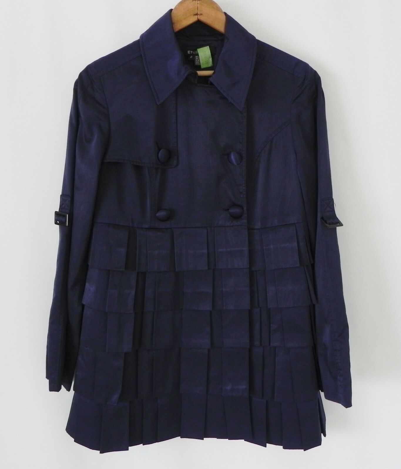 Etcetera Double Breasted Coat   Satin . Tiered . Ruffle . Navy bluee . Size M