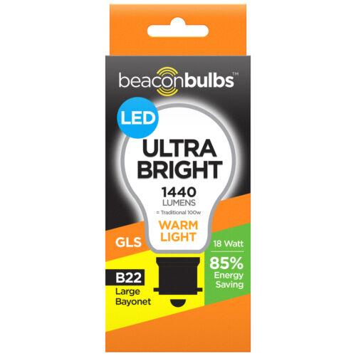 LED 40W 60W 100W Equivalents Warm White Bulbs Lamps B22 E27 E14 Bayonet Screw In