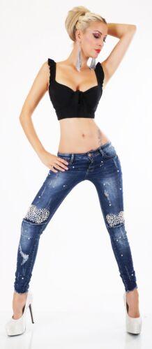 ORIGINAL Designer Stretch Jeans Damen Hose Röhrenjeans Perlen Abwetzungen XS-XL