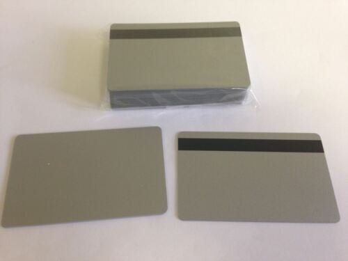 HiCo Mag Stripe 2 Track 1000 Silver PVC Cards CR80 .30 Mil for ID Printers