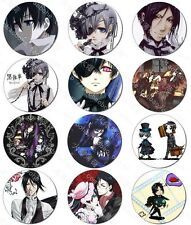 12pcs Japan Anime Black Butler Sebastian Ciel Badge Pin Anime Collections