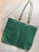 Vintage Ladies Plastic PVC Large Shoulderbag Handbag Turquoise + Rose Pattern