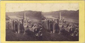 Eglise A Bacharach Bord Del Reno Germania Stereo Vintage Albumina Ca 1860