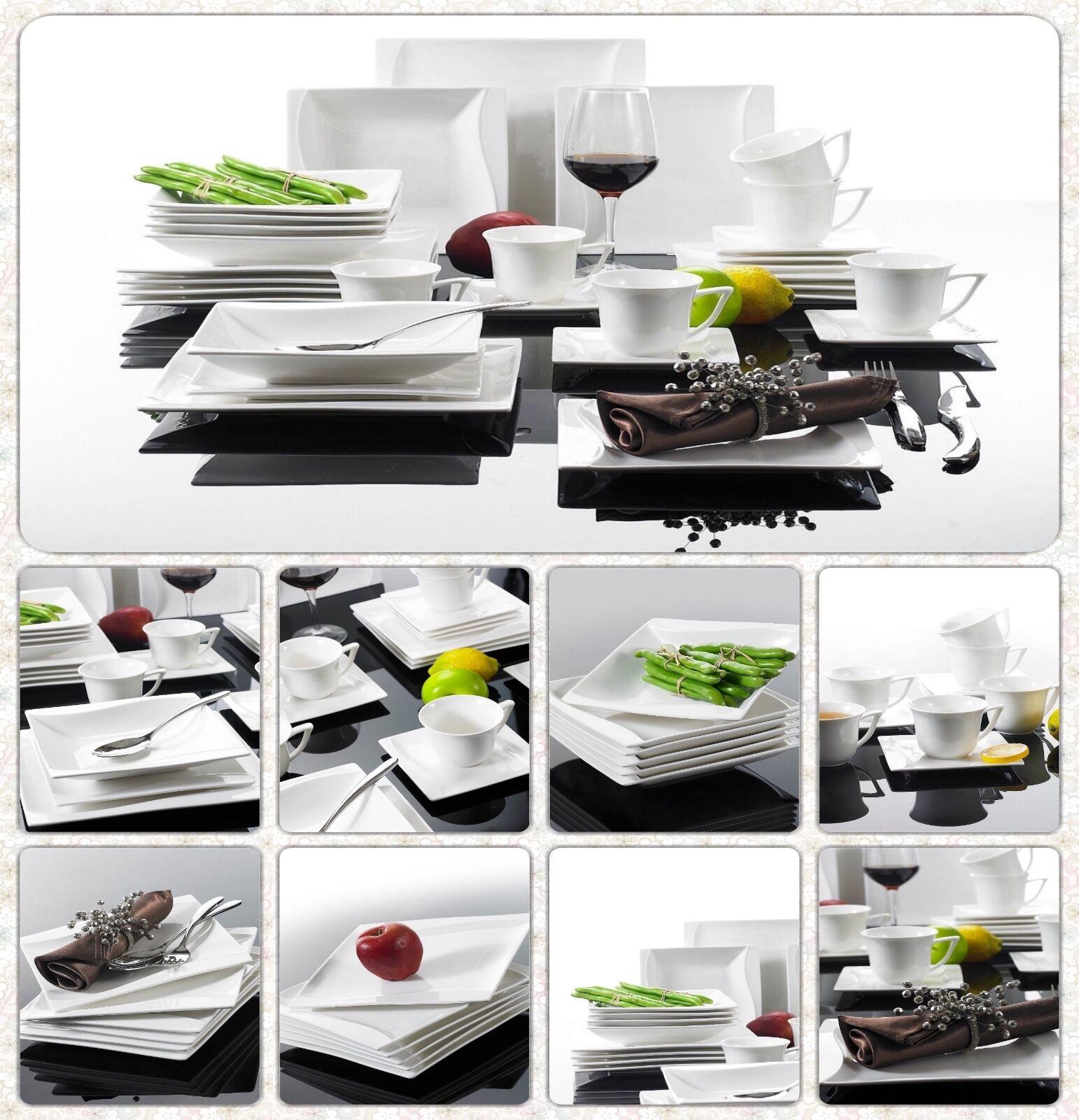 ONDA 30pcs QUADRATO PORCELLANA vasellame in Ceramica Cena Set di servizio tazze piatti