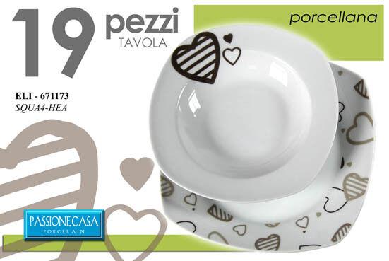 SET PIATTI TAVOLA 19 PEZZI QUADRATO SERVIZIO PORCELLANA BIANCO CUORE 671173
