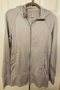 Mondetta Women's Size Small Athletic Full Zipper Gray & White Hooded Jacket