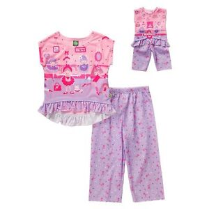 "Dollie Me Girl 4-14 and 18/"" Doll Matching Kitty Cat Pajamas Outfit American Girl"