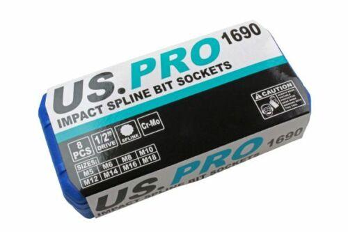 "US PRO 8pc 1//2/"" Impact Spline Socket Bit Set M5-M18 embouts Cr-Mo 78 mm longueur B1690"
