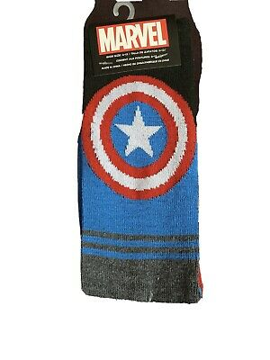 Captain America Athletic Crew Socks 1 PAIR Marvel Comics Mens Size 6-12