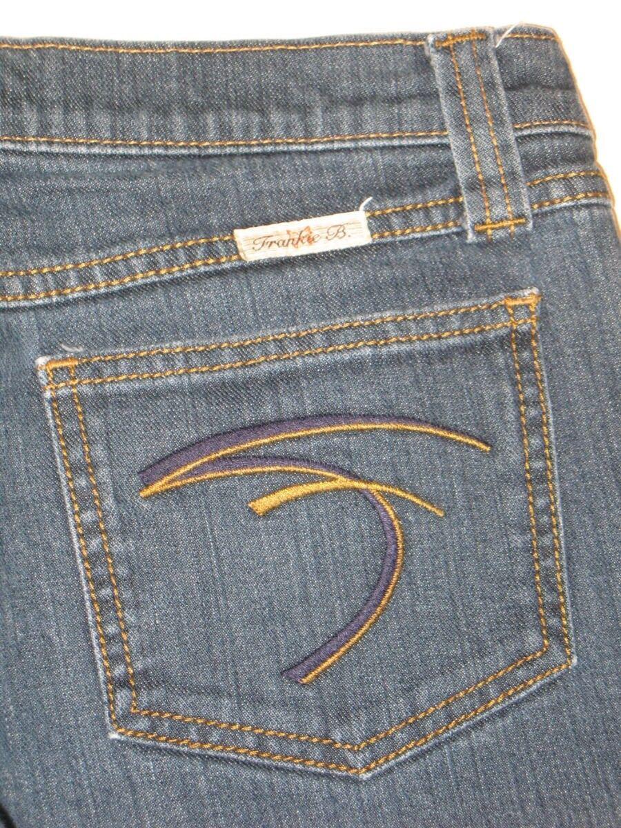 Frankie B Jeans Low Flare Women Sz 4 Dark Wash w Stretch L 28.25