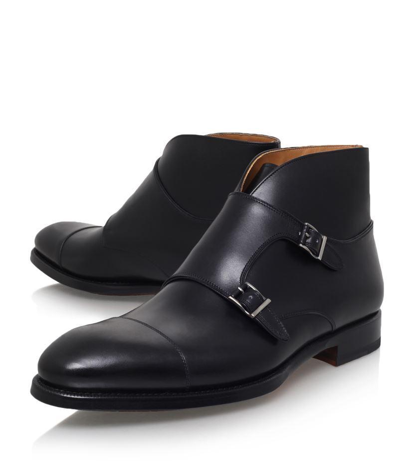 Handmade men black boots, double monk strap boot, men leather boots formal dress