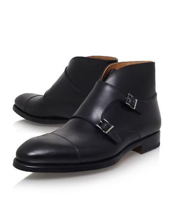 black leather double monk strap shoes