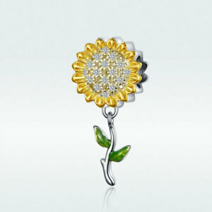 AAA-925-Sterling-Silver-Sunflower-Pendant-Bead-Charm-CZ-To-Bracelet-Necklace