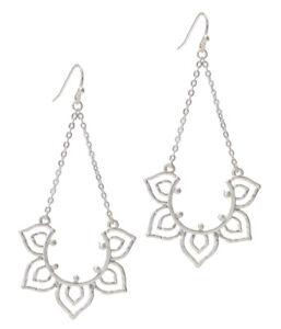 Lotus Flower Chandelier Earrings Boho Silver Dangle Statement Earrings