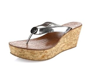 e8df30dd08ef8 TORY BURCH THORA 200050 metallic silver thong wedge sandals sz. 9.5 ...