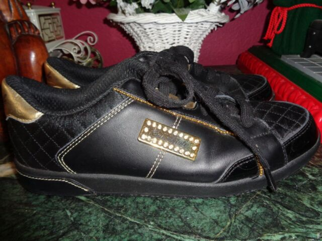 SOUTHPOLE WOMENS 8M BLACK & GOLD LACE UP ATHLETIC SHOES  WITH LOGO PRISTINE