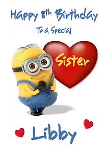 Image Is Loading Minions Personalised A5 Birthday Card Daughter Son Sister