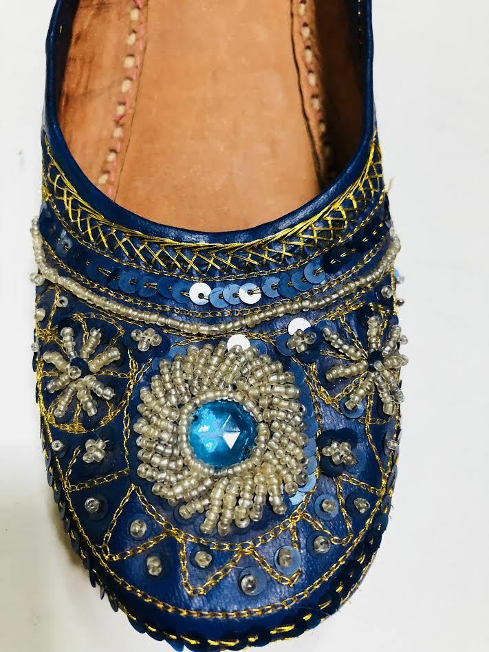 Vintage Blue beaded and jewel leather Slippers from India Sz Sz India 10 c44a89