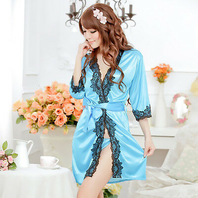 New Women Sexy Satin Lace Silk Soft Underwear Lingerie Nightdress Sleepwear Robe