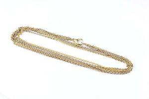 Goldkette 750 Bicolor Weißgold Gelbgold 18K 3-reihig Länge 43cm Damen Gold Kette