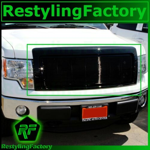 09-14 Ford F150 Gloss Black Billet Grille+Complete Replacement Shell FX+STX+XLT