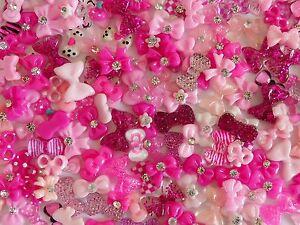 50-pcs-x-3D-Nail-Art-034-PINKS-BOWS-034-Mix-Nail-Decoration-Accessory-Craft-Cabochon