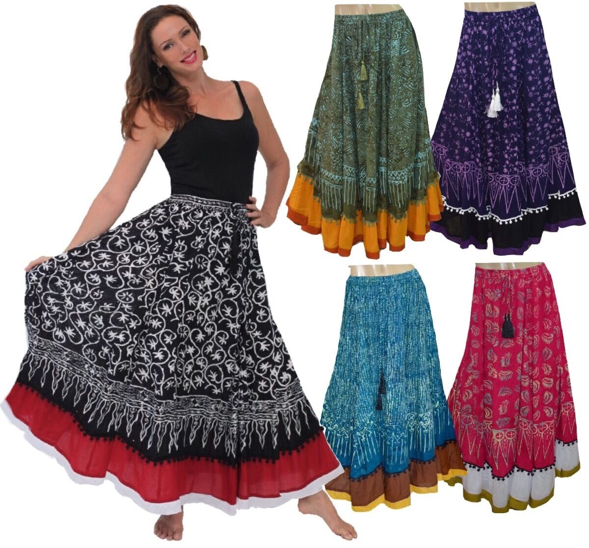 BOHO GYPSY MAXI SKIRT GAUZY BATIK POM POM ART LotusTraders MADE TO ORDER R907