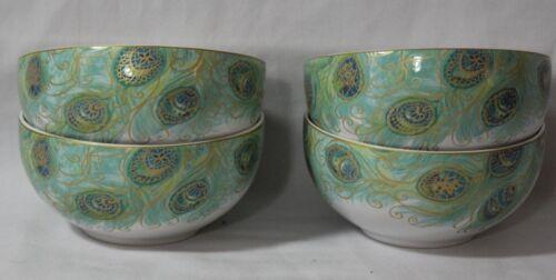222 Fifth Lakshmi Porcelain Soup Cereal Bowls Set of Four Teal Peacock New