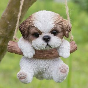 Gentil Details About Hanging SHIH TZU Puppy Dog   Life Like Figurine Statue Home  Garden NEW