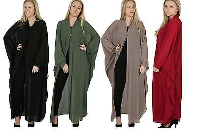 Ladies 5 Buttons Crape Split Long Shirt Womens Abaya Vintage Maxi Dress 8-14