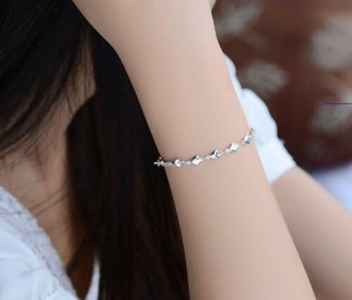 MICRO-Inlay Zircone cubique Argent Sterling 925 Lovely Heart to Heart Bead Chain Bracelet