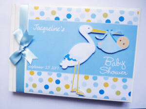 Image Is Loading PERSONALISED STORK BABY SHOWER BOY GUEST BOOK ANY