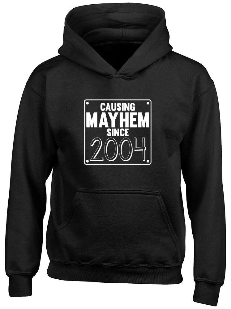 Adaptable Causant Mayhem Depuis 2004 Anniversaire Enfants Sweat à Capuche Top PastèQues
