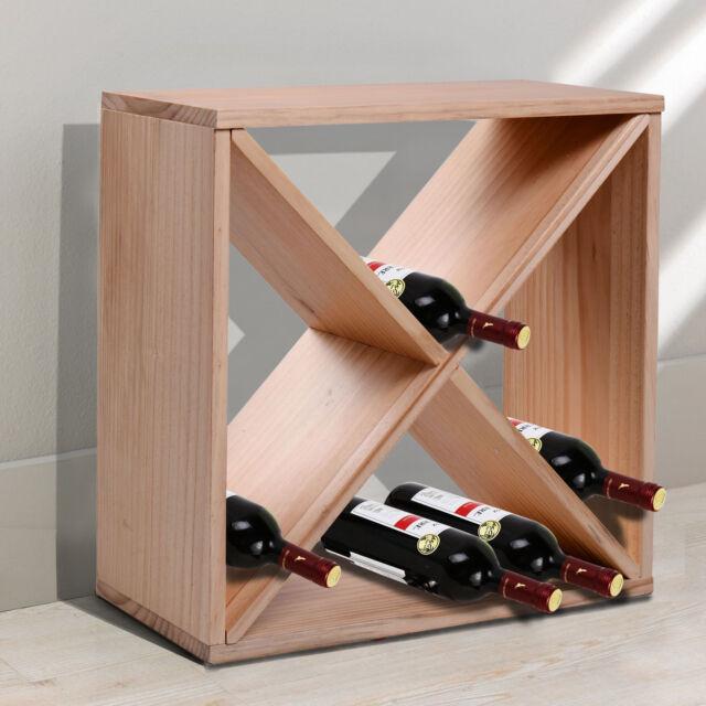 Homcom Wooden Wine Rack For 24 Bottle Square Tabletop Storage Holder