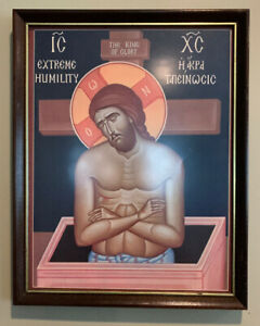 Extreme-Humility-Greek-Orthodox-Icon-11-x-14-Framed-Laminated-Print-RARE