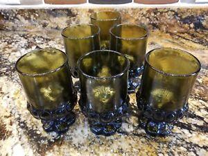 100% Vrai 6 Excellent Vintage Franciscan Madère Vert Olive Tasse Vin Eau Jus Verre-afficher Le Titre D'origine MatéRiaux De Qualité SupéRieure