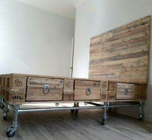 Letto Con Cassettoni Realizzato Con Pallets Bancali Epal 120x80 Con